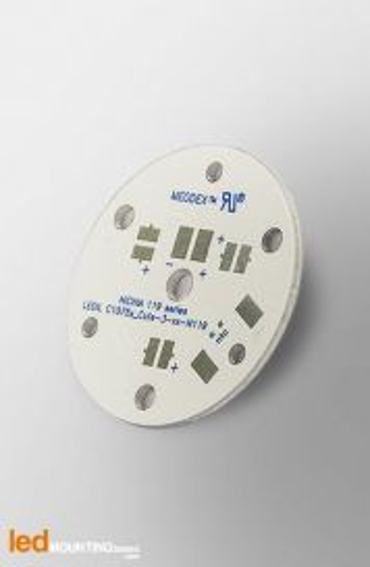 MCPCB Diametre 35mm pour 3 LEDs Nichia 119 compatible optique Ledil