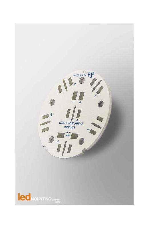 MCPCB Diametre 40mm pour 6 LEDs CREE MX-6 compatible optique Ledil